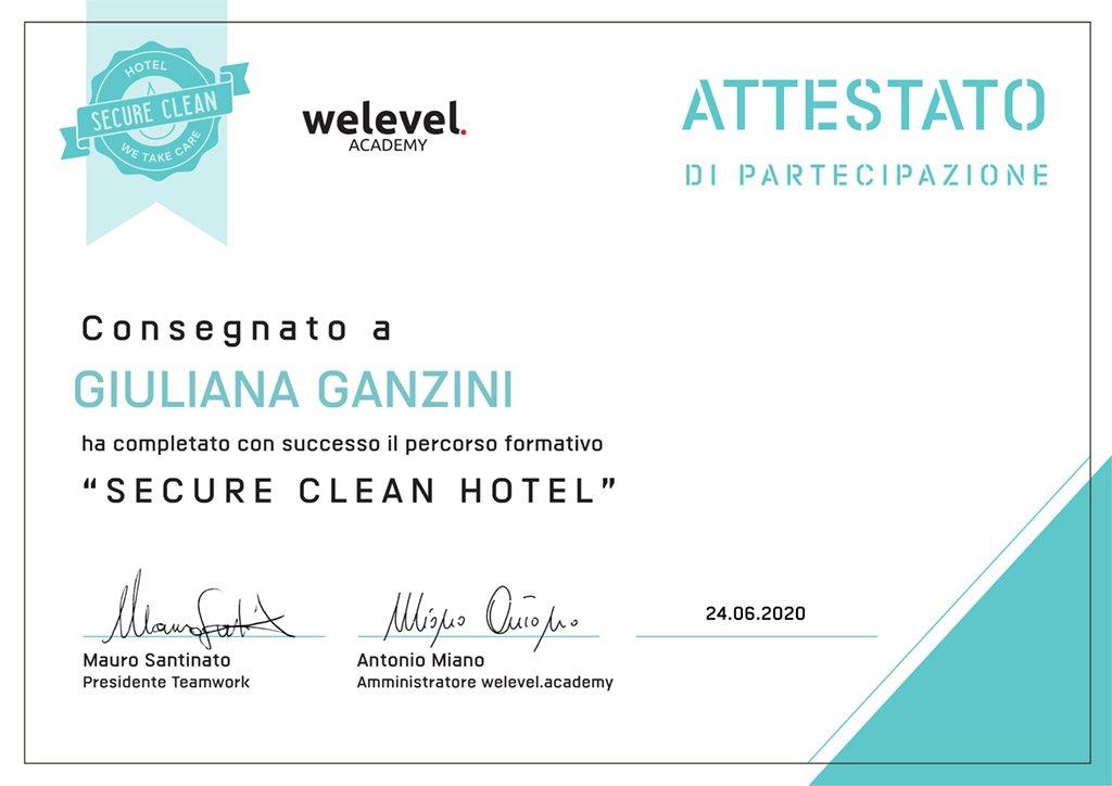 Attestato Secure Clean Hotel